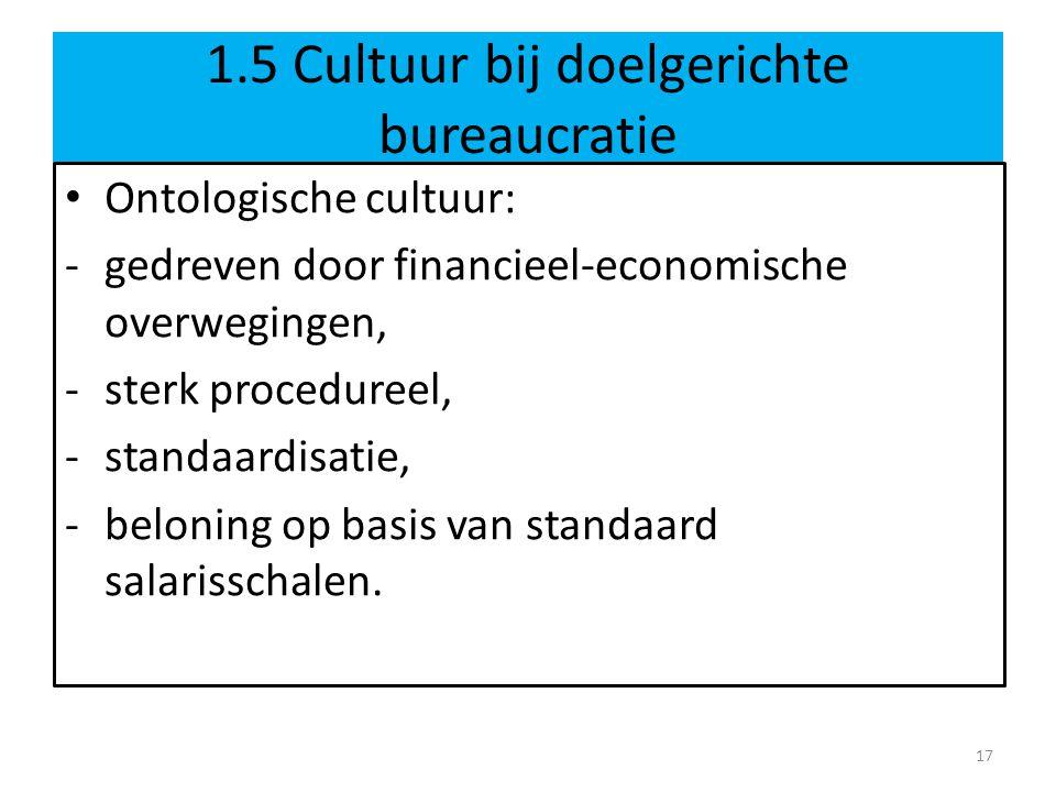 1.5 Cultuur bij doelgerichte bureaucratie • Ontologische cultuur: -gedreven door financieel-economische overwegingen, -sterk procedureel, -standaardisatie, -beloning op basis van standaard salarisschalen.