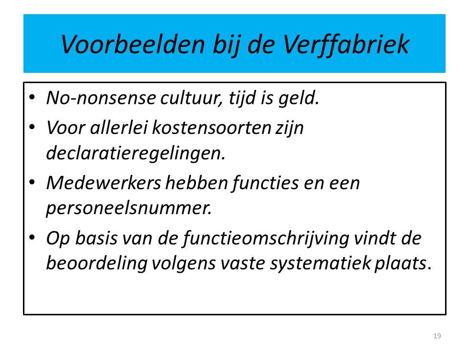 Voorbeelden bij de Verffabriek • No-nonsense cultuur, tijd is geld.