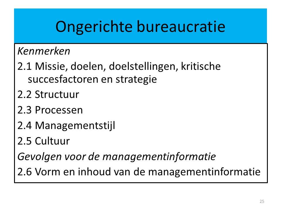 Ongerichte bureaucratie 25 Kenmerken 2.1 Missie, doelen, doelstellingen, kritische succesfactoren en strategie 2.2 Structuur 2.3 Processen 2.4 Managem