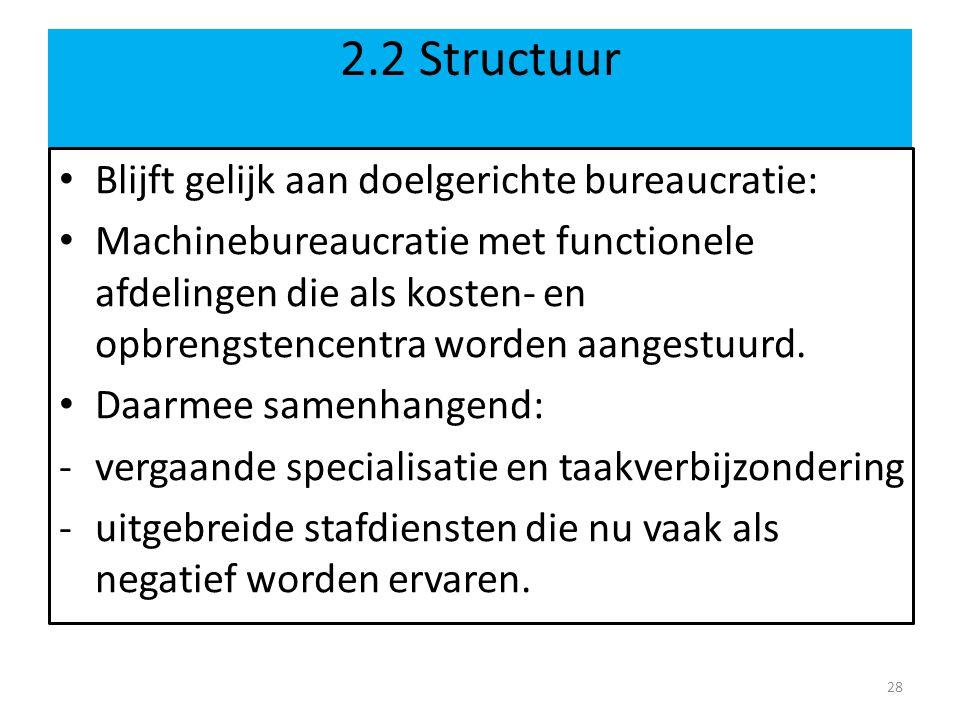 2.2 Structuur • Blijft gelijk aan doelgerichte bureaucratie: • Machinebureaucratie met functionele afdelingen die als kosten- en opbrengstencentra worden aangestuurd.