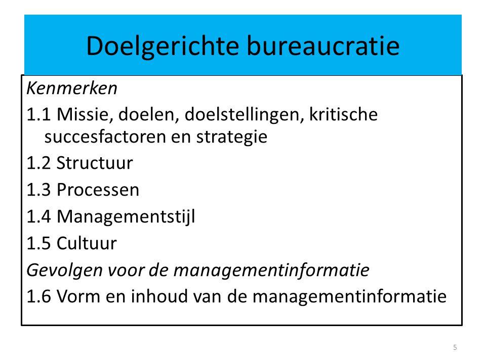 Kenmerken 1.1 Missie, doelen, doelstellingen, kritische succesfactoren en strategie 1.2 Structuur 1.3 Processen 1.4 Managementstijl 1.5 Cultuur Gevolg