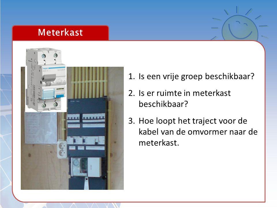 Meterkast 1.Is een vrije groep beschikbaar? 2.Is er ruimte in meterkast beschikbaar? 3.Hoe loopt het traject voor de kabel van de omvormer naar de met