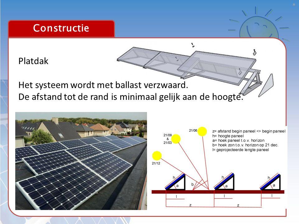 * 16 Constructie Platdak Het systeem wordt met ballast verzwaard. De afstand tot de rand is minimaal gelijk aan de hoogte.