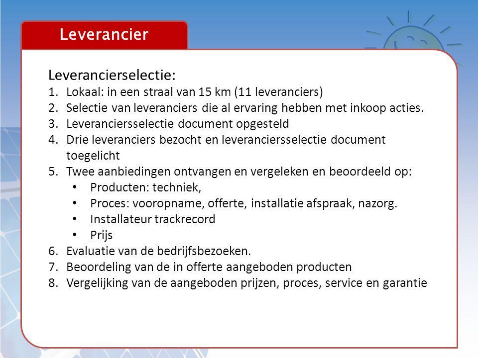 Leverancier Leverancierselectie: 1.Lokaal: in een straal van 15 km (11 leveranciers) 2.Selectie van leveranciers die al ervaring hebben met inkoop act