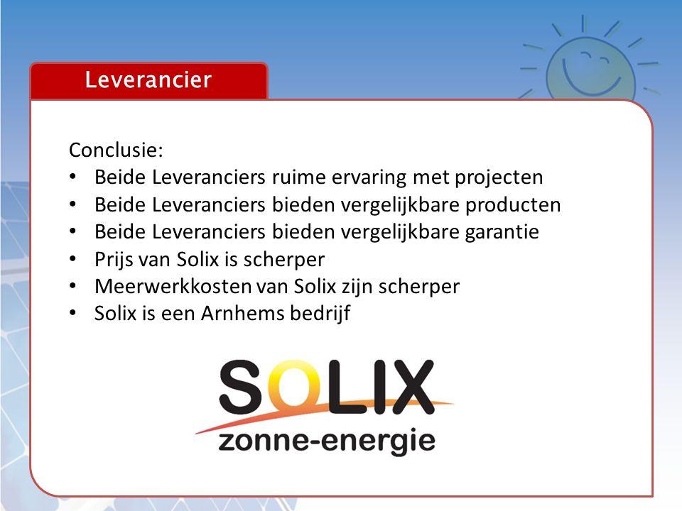 Leverancier Conclusie: • Beide Leveranciers ruime ervaring met projecten • Beide Leveranciers bieden vergelijkbare producten • Beide Leveranciers bied