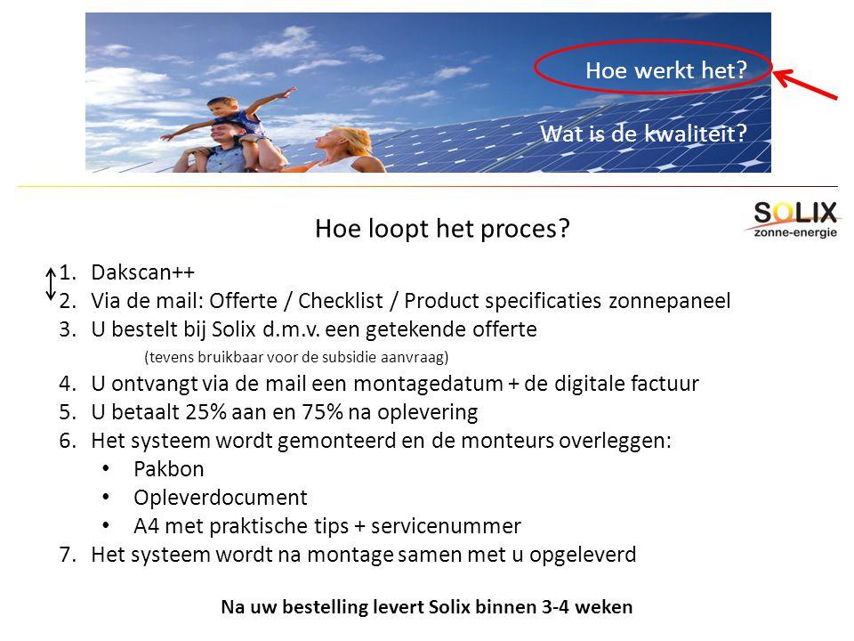 Hoe werkt het? Wat is de kwaliteit? Hoe loopt het proces? 1.Dakscan++ 2.Via de mail: Offerte / Checklist / Product specificaties zonnepaneel 3.U beste