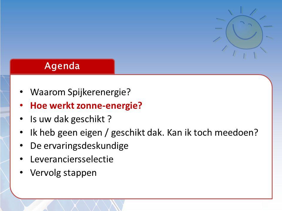 Agenda • Waarom Spijkerenergie? • Hoe werkt zonne-energie? • Is uw dak geschikt ? • Ik heb geen eigen / geschikt dak. Kan ik toch meedoen? • De ervari