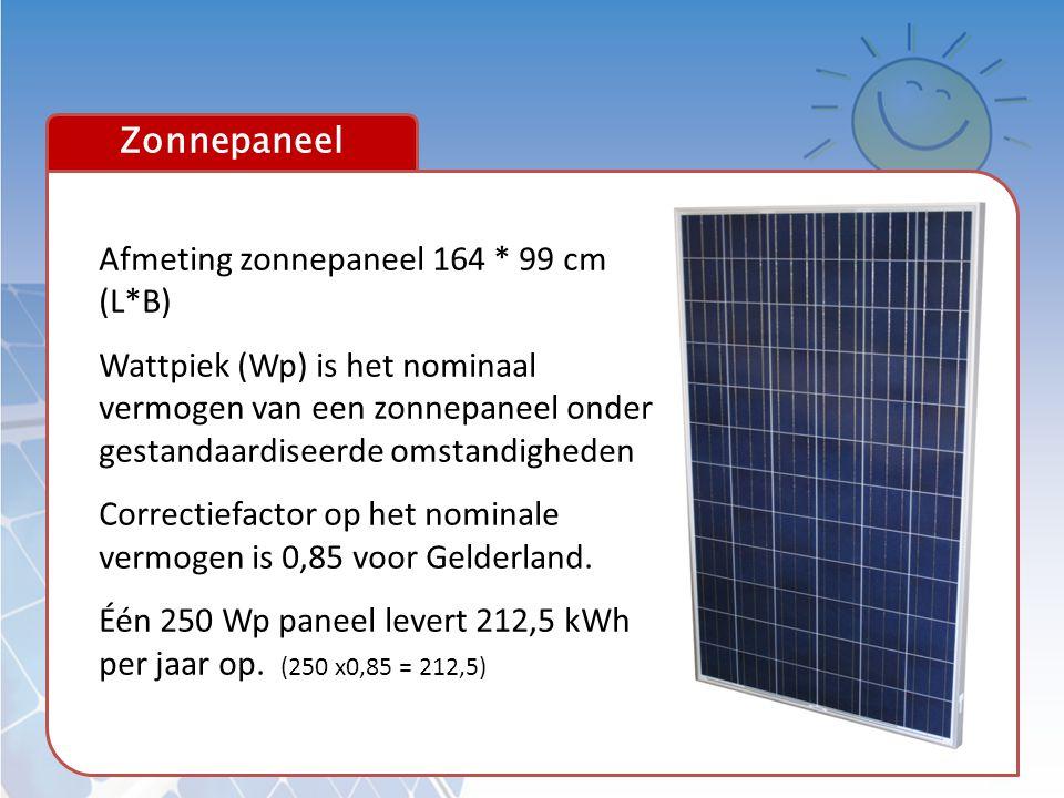 Zonnepaneel Afmeting zonnepaneel 164 * 99 cm (L*B) Wattpiek (Wp) is het nominaal vermogen van een zonnepaneel onder gestandaardiseerde omstandigheden