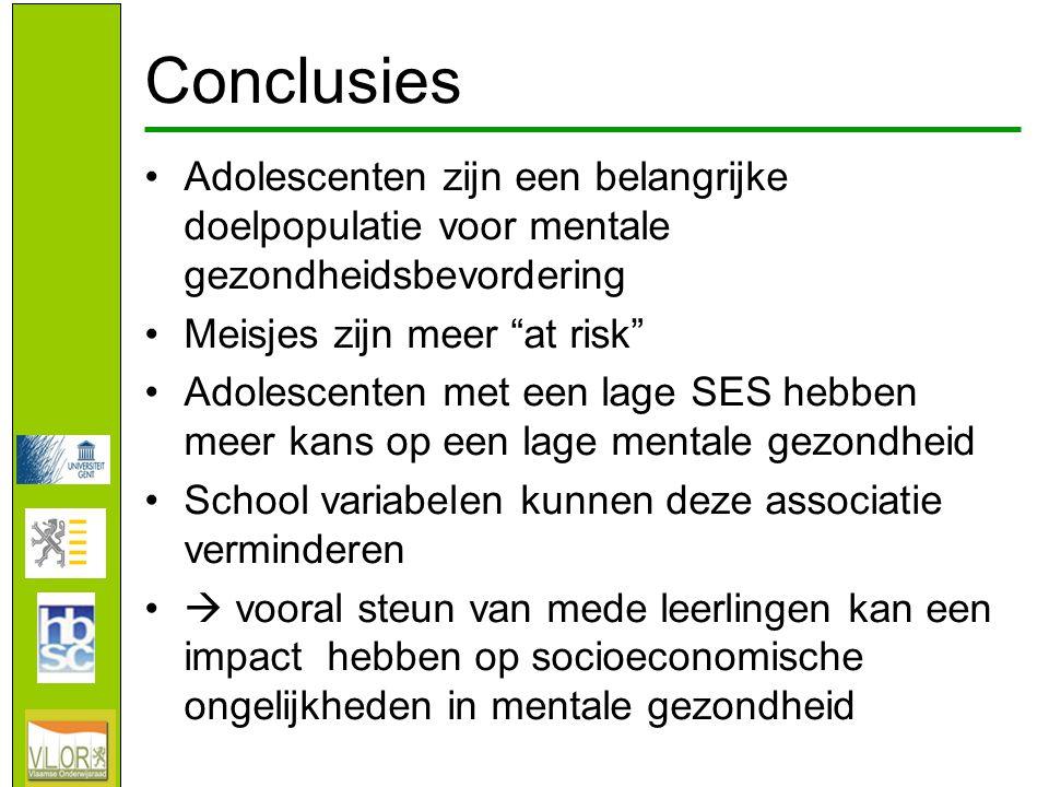 Conclusies •Adolescenten zijn een belangrijke doelpopulatie voor mentale gezondheidsbevordering •Meisjes zijn meer at risk •Adolescenten met een lage SES hebben meer kans op een lage mentale gezondheid •School variabelen kunnen deze associatie verminderen •  vooral steun van mede leerlingen kan een impact hebben op socioeconomische ongelijkheden in mentale gezondheid