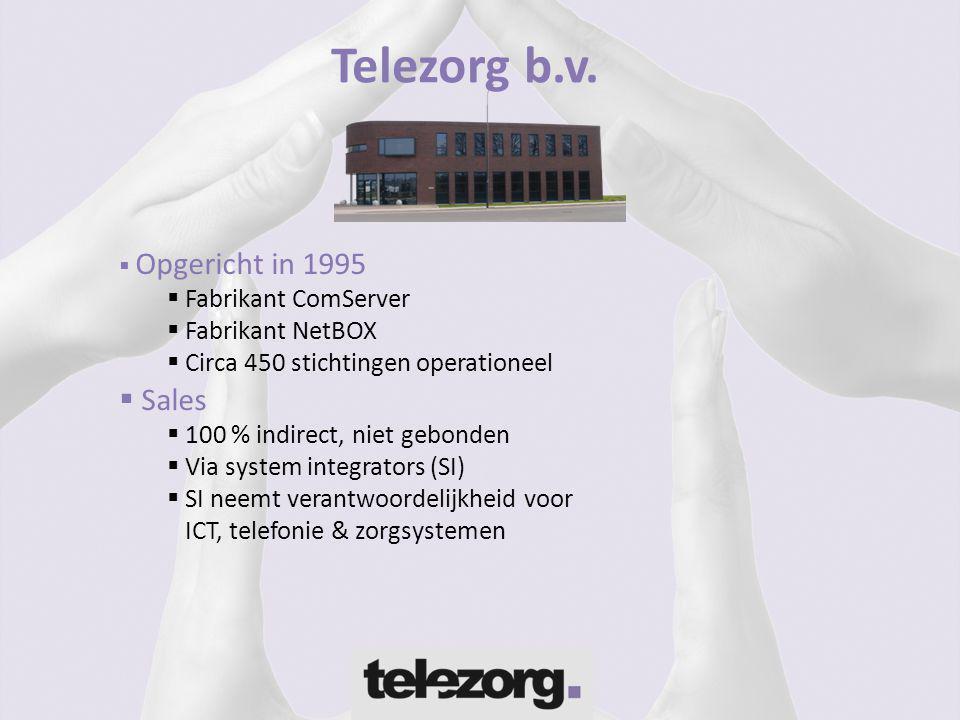  Opgericht in 1995  Fabrikant ComServer  Fabrikant NetBOX  Circa 450 stichtingen operationeel  Sales  100 % indirect, niet gebonden  Via system