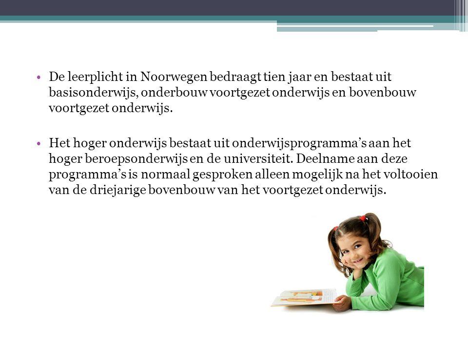 •De leerplicht in Noorwegen bedraagt tien jaar en bestaat uit basisonderwijs, onderbouw voortgezet onderwijs en bovenbouw voortgezet onderwijs.