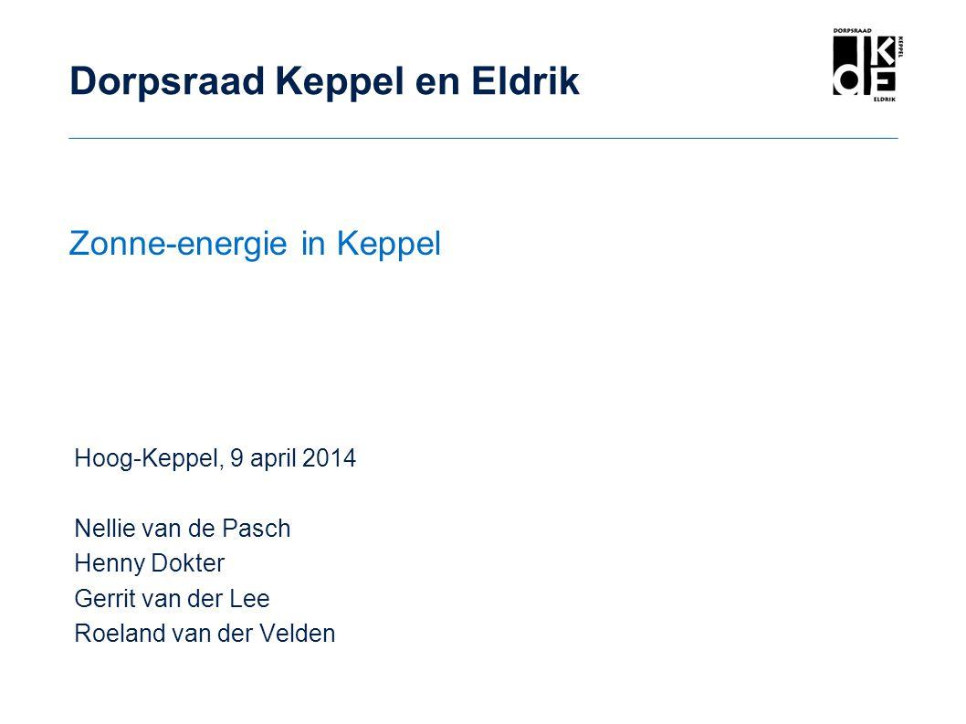 Hoog-Keppel, 9 april 2014 Nellie van de Pasch Henny Dokter Gerrit van der Lee Roeland van der Velden Dorpsraad Keppel en Eldrik Zonne-energie in Keppe