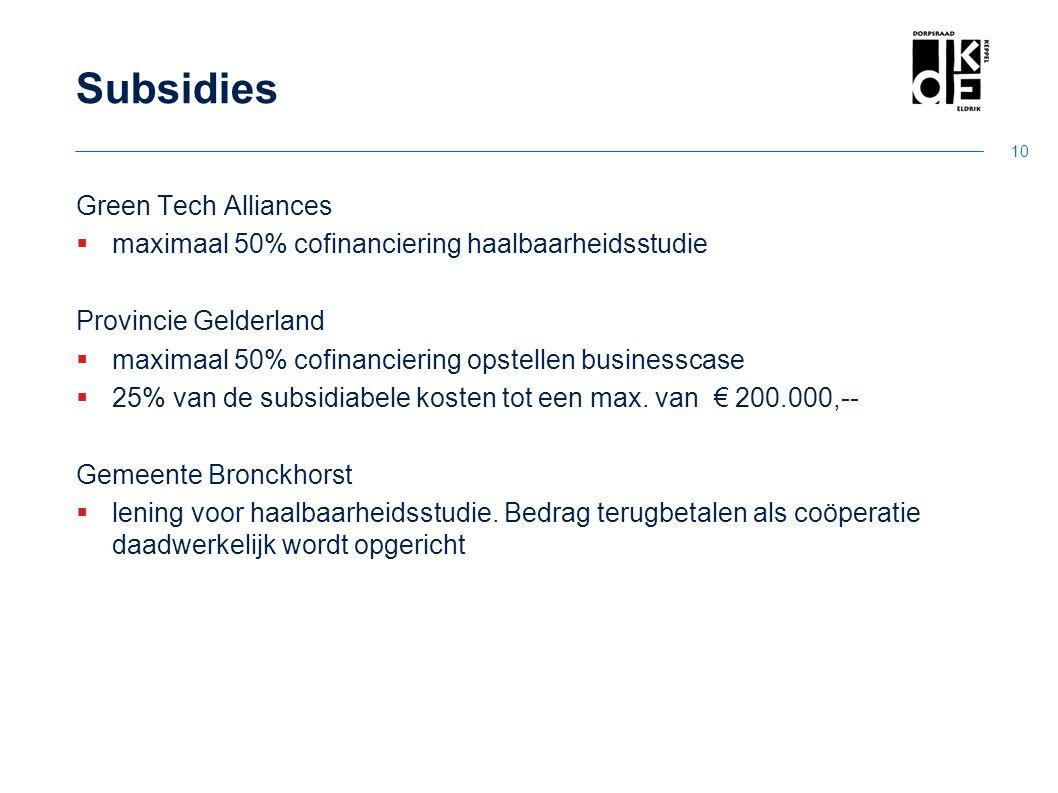 Subsidies Green Tech Alliances  maximaal 50% cofinanciering haalbaarheidsstudie Provincie Gelderland  maximaal 50% cofinanciering opstellen business