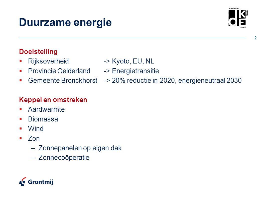 Duurzame energie Doelstelling  Rijksoverheid-> Kyoto, EU, NL  Provincie Gelderland-> Energietransitie  Gemeente Bronckhorst-> 20% reductie in 2020,