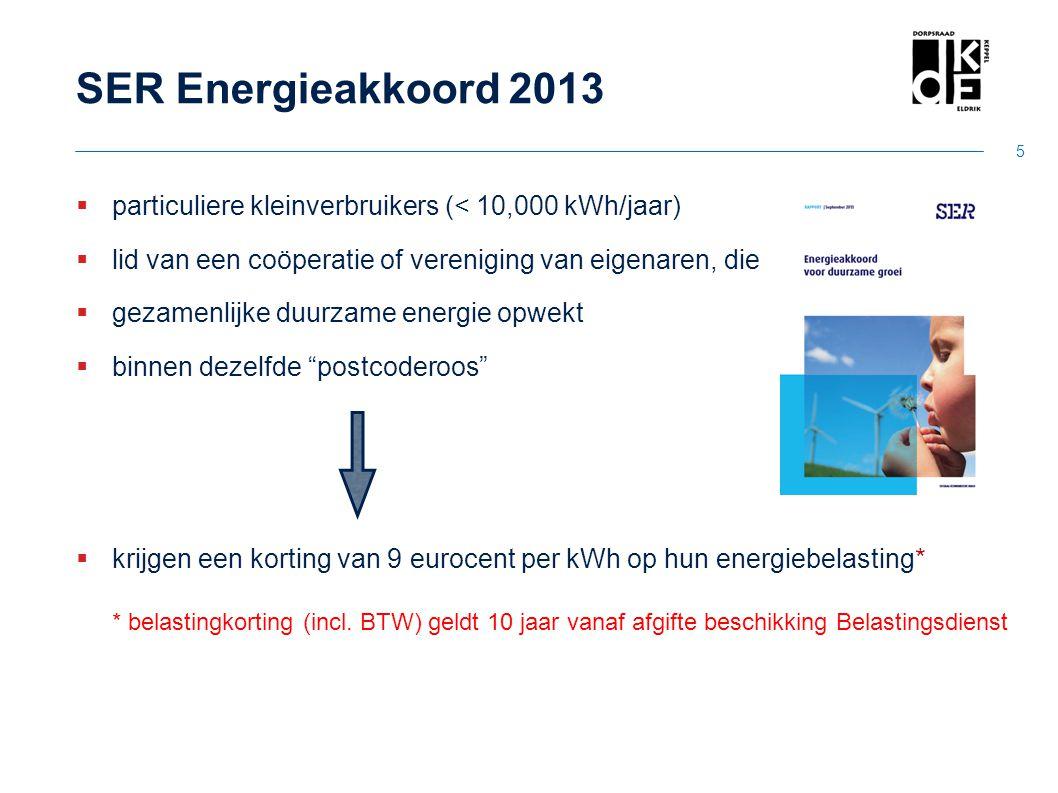 SER Energieakkoord 2013  particuliere kleinverbruikers (< 10,000 kWh/jaar)  lid van een coöperatie of vereniging van eigenaren, die  gezamenlijke d