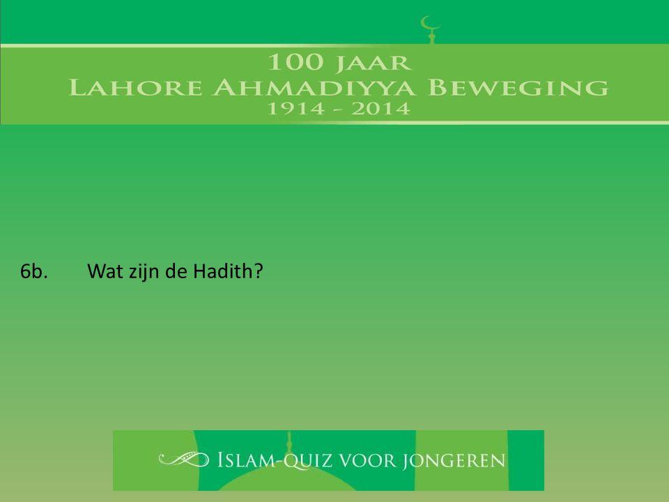 6b. Wat zijn de Hadith?