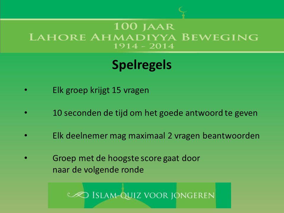 Spelregels • Elk groep krijgt 15 vragen • 10 seconden de tijd om het goede antwoord te geven • Elk deelnemer mag maximaal 2 vragen beantwoorden • Groe