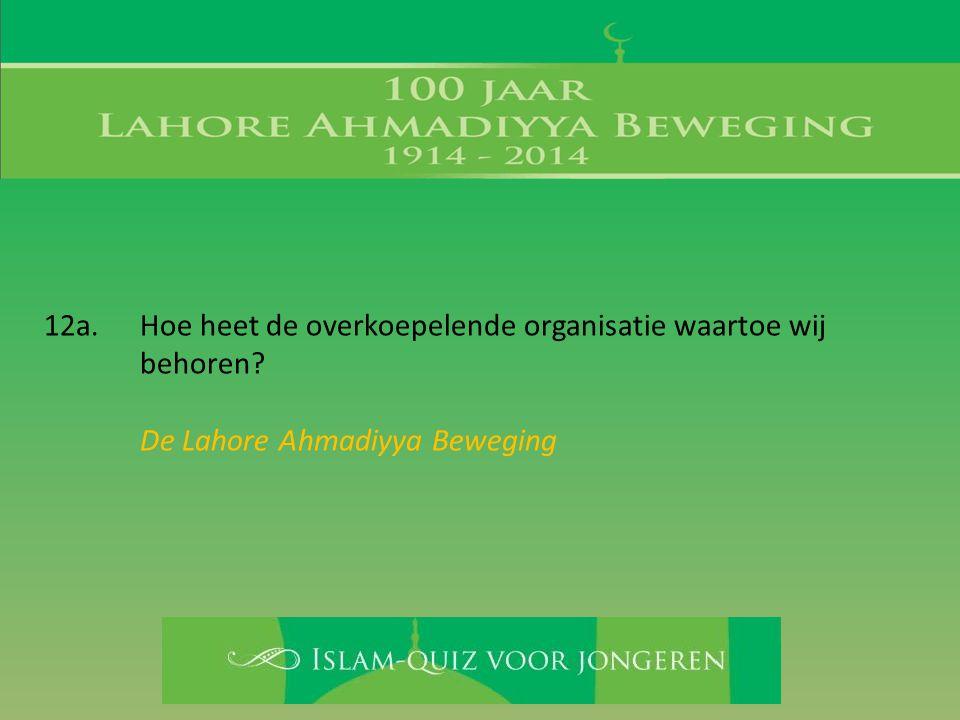 12a. Hoe heet de overkoepelende organisatie waartoe wij behoren? De Lahore Ahmadiyya Beweging