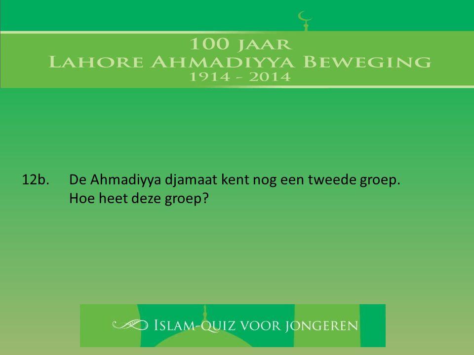 12b. De Ahmadiyya djamaat kent nog een tweede groep. Hoe heet deze groep?