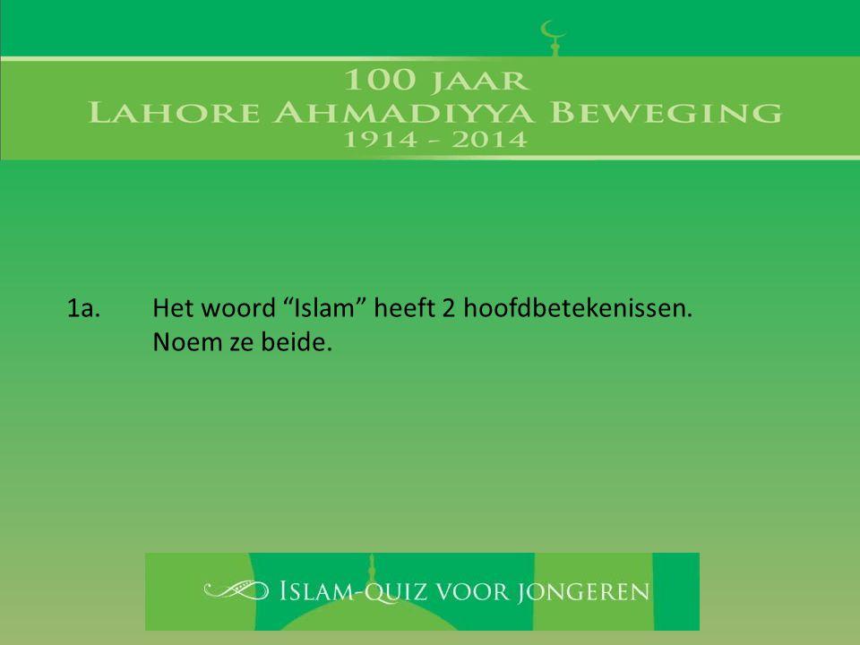 """1a. Het woord """"Islam"""" heeft 2 hoofdbetekenissen. Noem ze beide."""