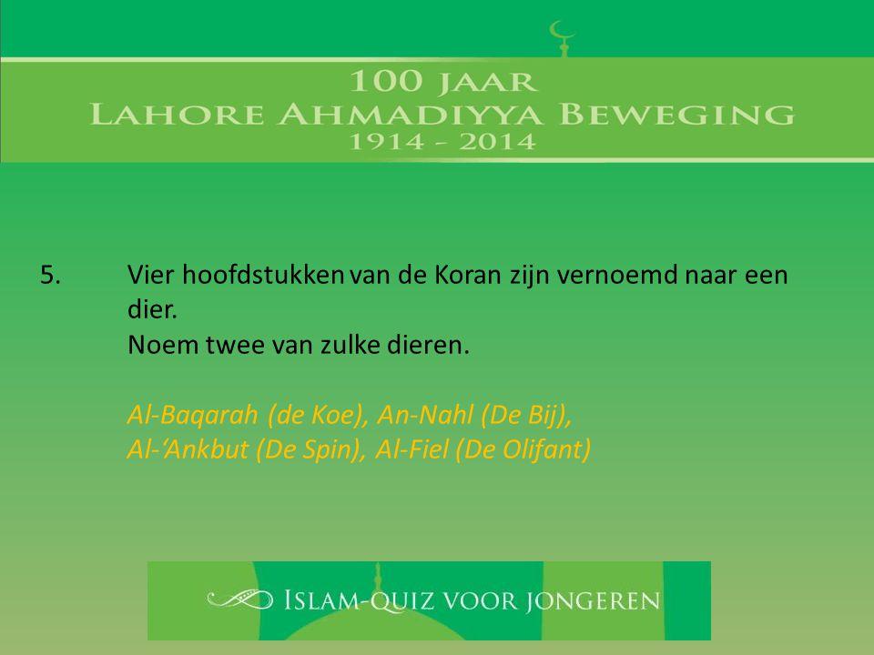 5. Vier hoofdstukken van de Koran zijn vernoemd naar een dier. Noem twee van zulke dieren. Al-Baqarah (de Koe), An-Nahl (De Bij), Al-'Ankbut (De Spin)