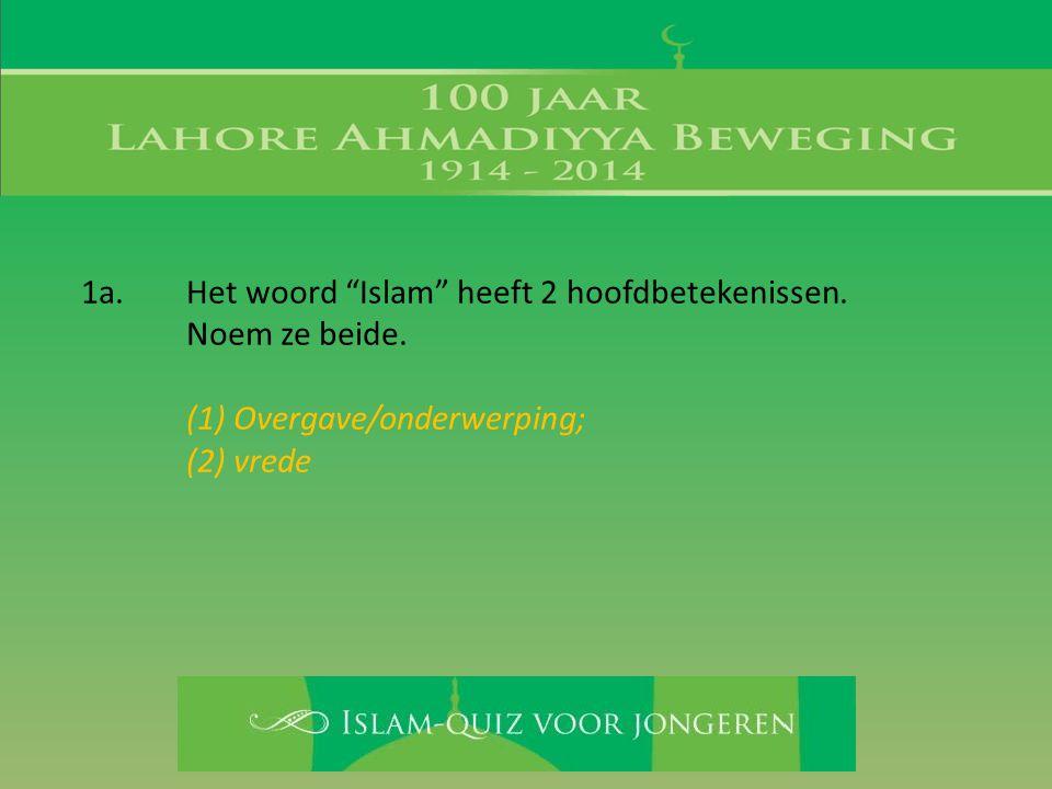 """1a. Het woord """"Islam"""" heeft 2 hoofdbetekenissen. Noem ze beide. (1) Overgave/onderwerping; (2) vrede"""