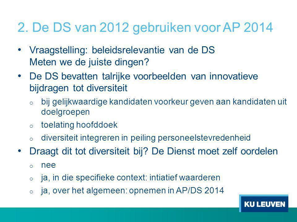 2. De DS van 2012 gebruiken voor AP 2014 • Vraagstelling: beleidsrelevantie van de DS Meten we de juiste dingen? • De DS bevatten talrijke voorbeelden
