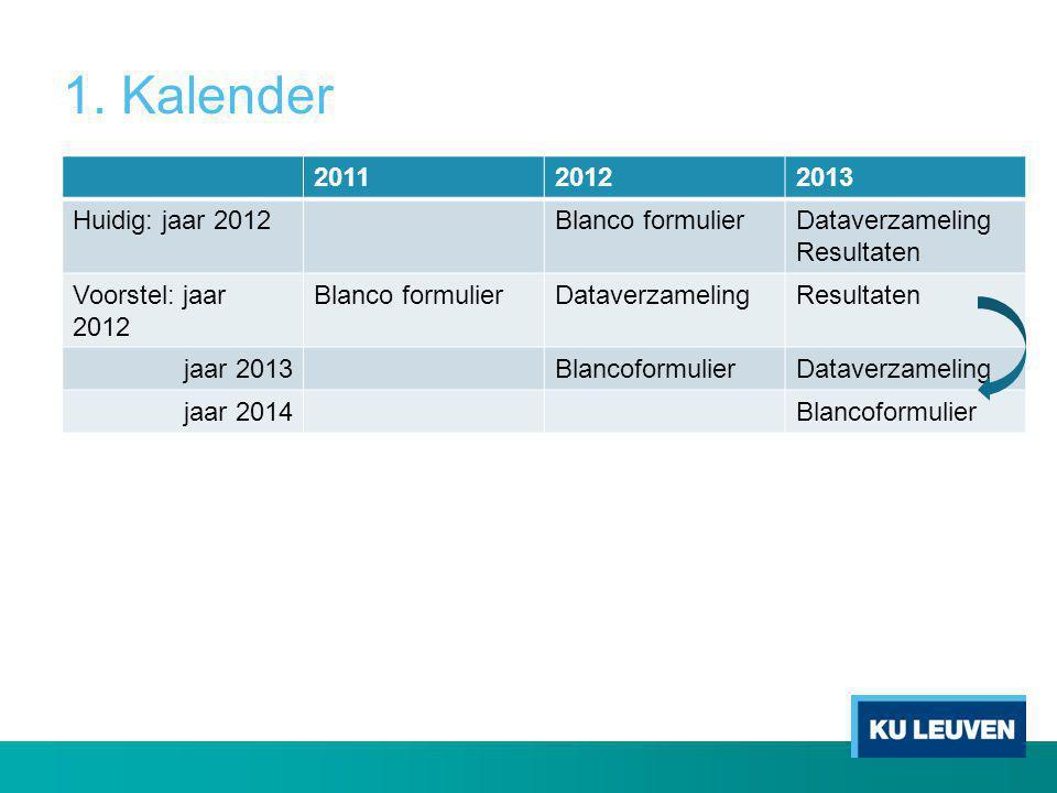 1. Kalender 201120122013 Huidig: jaar 2012Blanco formulierDataverzameling Resultaten Voorstel: jaar 2012 Blanco formulierDataverzamelingResultaten jaa