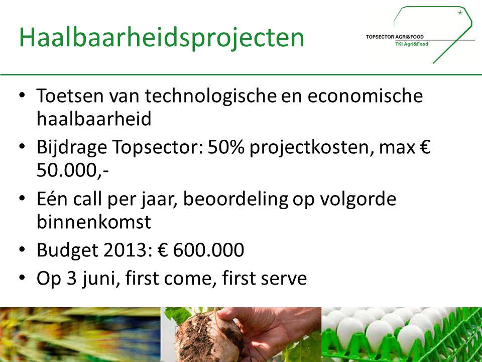 Haalbaarheidsprojecten • Toetsen van technologische en economische haalbaarheid • Bijdrage Topsector: 50% projectkosten, max € 50.000,- • Eén call per