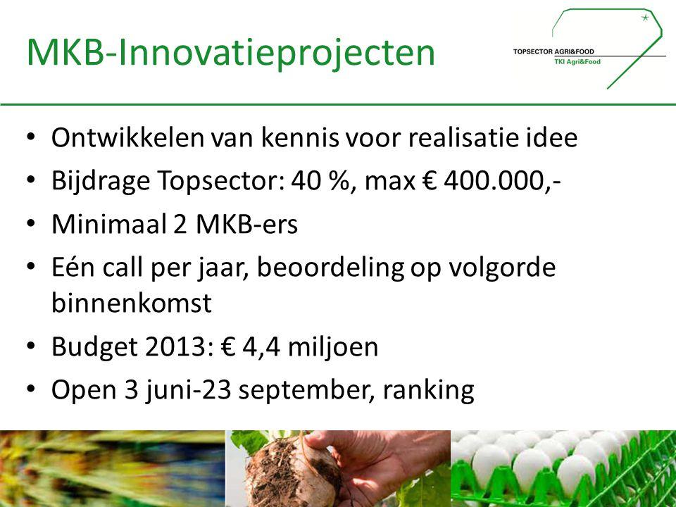 MKB-Innovatieprojecten • Ontwikkelen van kennis voor realisatie idee • Bijdrage Topsector: 40 %, max € 400.000,- • Minimaal 2 MKB-ers • Eén call per j