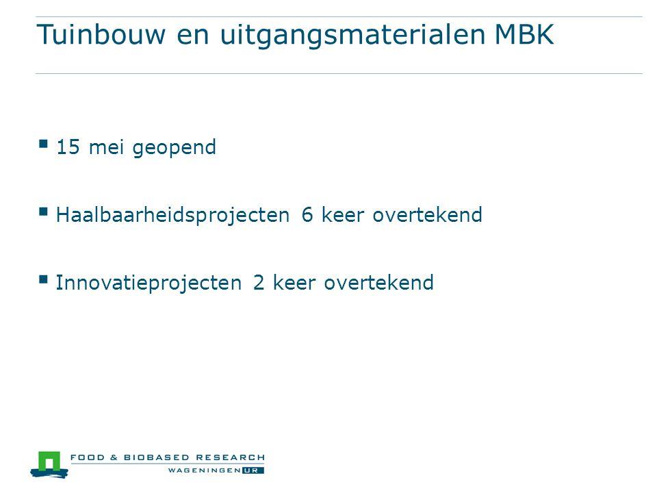Tuinbouw en uitgangsmaterialen MBK  15 mei geopend  Haalbaarheidsprojecten 6 keer overtekend  Innovatieprojecten 2 keer overtekend