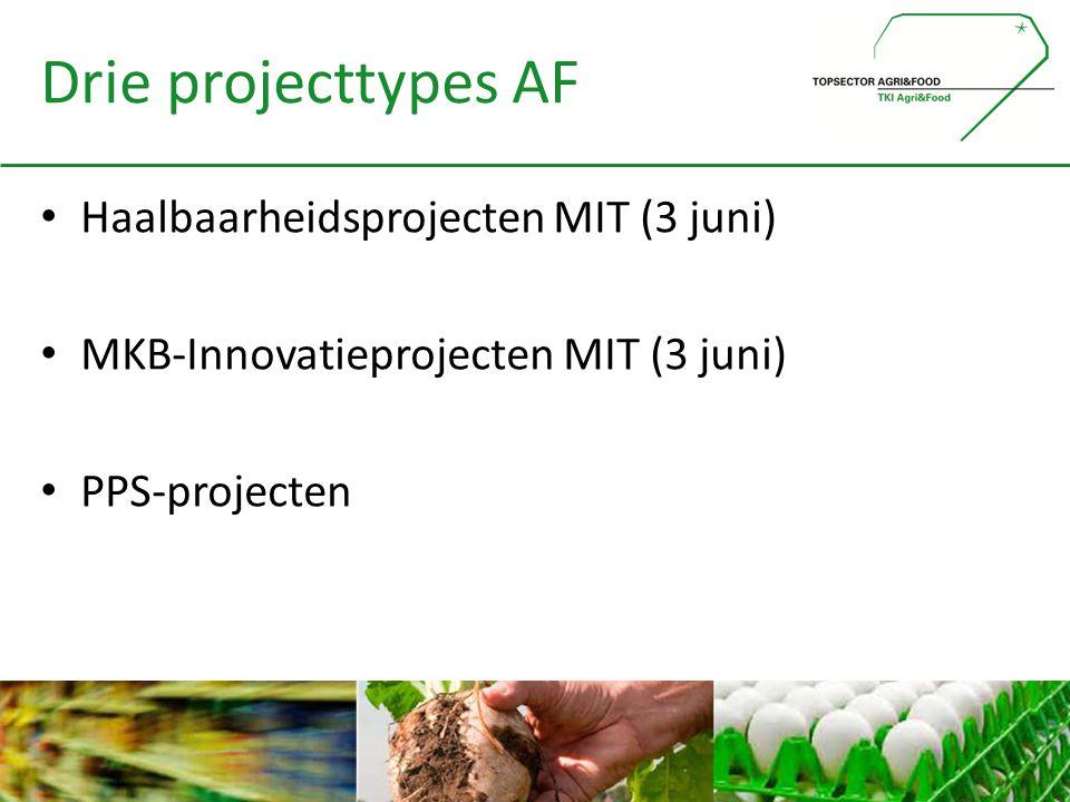 Drie projecttypes AF • Haalbaarheidsprojecten MIT (3 juni) • MKB-Innovatieprojecten MIT (3 juni) • PPS-projecten