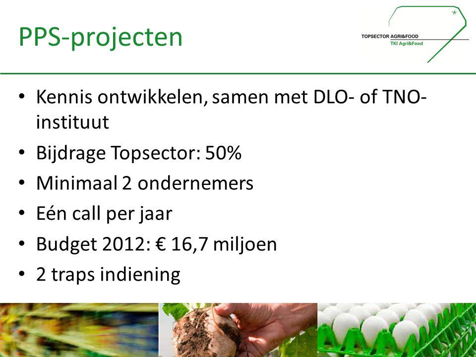 PPS-projecten • Kennis ontwikkelen, samen met DLO- of TNO- instituut • Bijdrage Topsector: 50% • Minimaal 2 ondernemers • Eén call per jaar • Budget 2