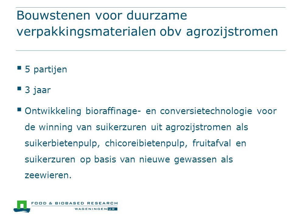 Bouwstenen voor duurzame verpakkingsmaterialen obv agrozijstromen  5 partijen  3 jaar  Ontwikkeling bioraffinage- en conversietechnologie voor de w