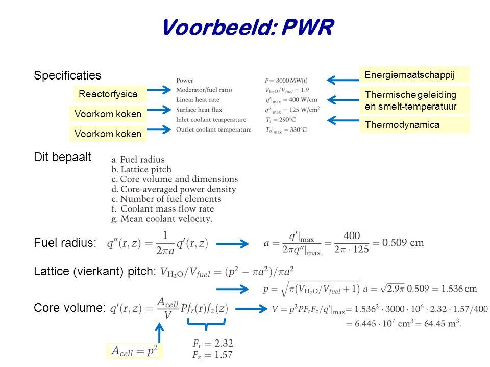 Voorbeeld: PWR Specificaties Dit bepaalt Fuel radius: Lattice (vierkant) pitch: Energiemaatschappij Core volume: Reactorfysica Thermische geleiding en