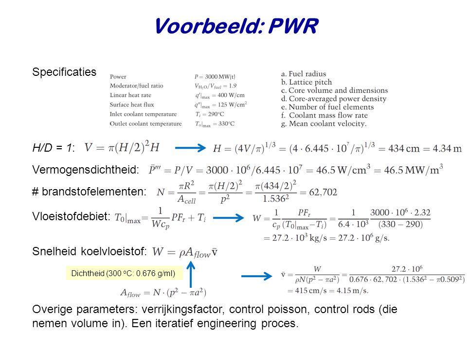 Voorbeeld: PWR Specificaties H/D = 1: Vermogensdichtheid: Overige parameters: verrijkingsfactor, control poisson, control rods (die nemen volume in).