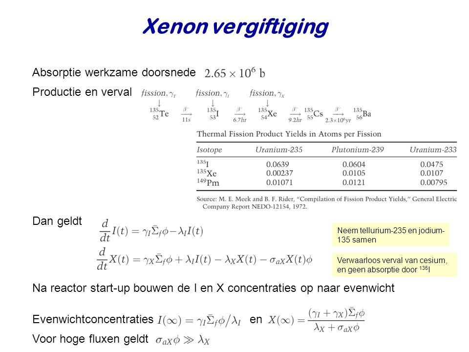Xenon vergiftiging Absorptie werkzame doorsnede Dan geldt Na reactor start-up bouwen de I en X concentraties op naar evenwicht Productie en verval Ver