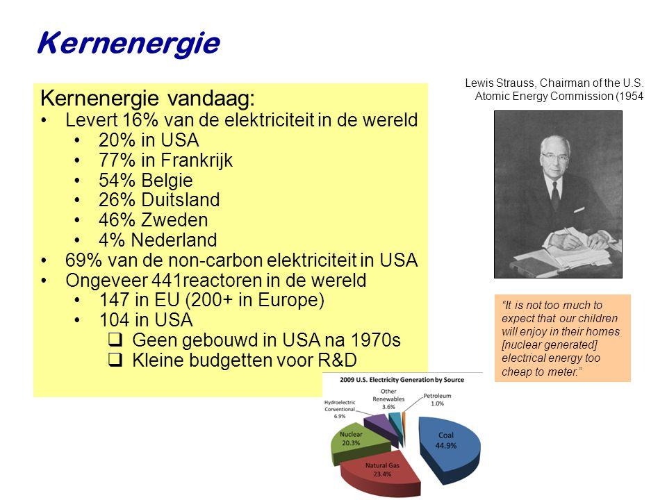 Najaar 2007Jo van den Brand29 Kernenergie It is not too much to expect that our children will enjoy in their homes [nuclear generated] electrical energy too cheap to meter. Kernenergie vandaag: •Levert 16% van de elektriciteit in de wereld •20% in USA •77% in Frankrijk •54% Belgie •26% Duitsland •46% Zweden •4% Nederland •69% van de non-carbon elektriciteit in USA •Ongeveer 441reactoren in de wereld •147 in EU (200+ in Europe) •104 in USA  Geen gebouwd in USA na 1970s  Kleine budgetten voor R&D Lewis Strauss, Chairman of the U.S.