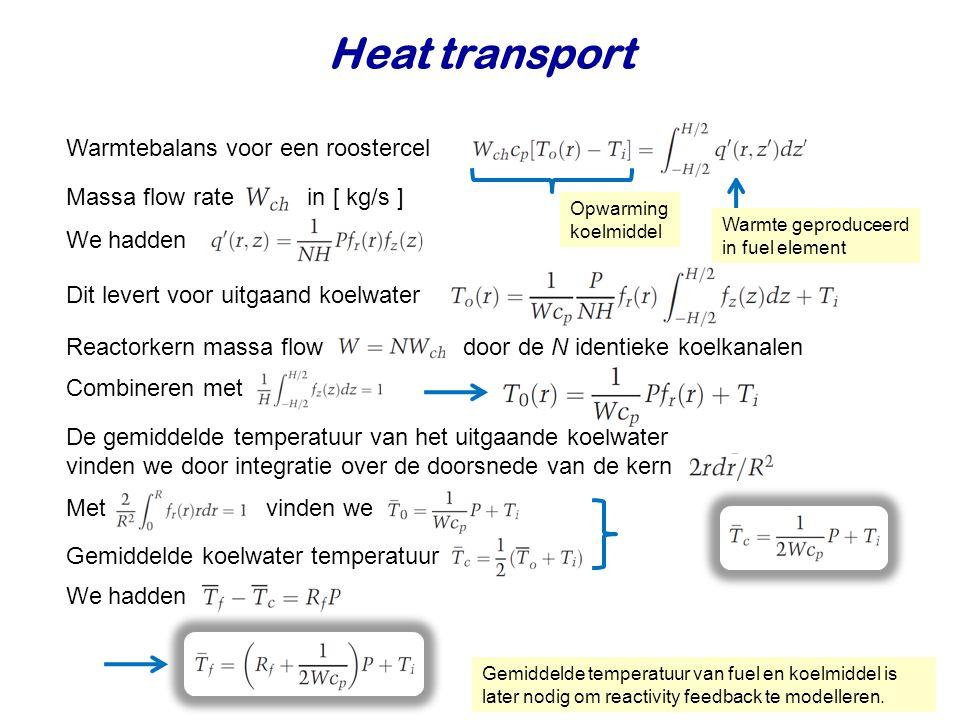 Heat transport Maximum koelwater temperatuur Maximaal temperatuurverschil uit Combineren met Voor vloeistof gekoelde reactoren geldt Radiale peaking factor Gemiddelde koelwater temperatuur Maximum fuel temperatuur Hiervoor moeten we T c weten.