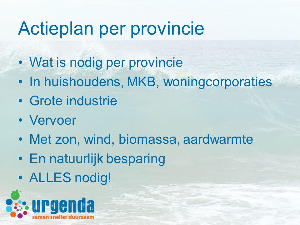 Actieplan per provincie •Wat is nodig per provincie •In huishoudens, MKB, woningcorporaties •Grote industrie •Vervoer •Met zon, wind, biomassa, aardwarmte •En natuurlijk besparing •ALLES nodig!