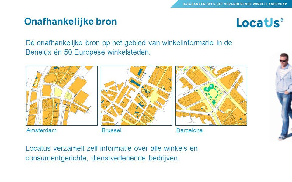 Onafhankelijke bron Dé onafhankelijke bron op het gebied van winkelinformatie in de Benelux én 50 Europese winkelsteden. Locatus verzamelt zelf inform