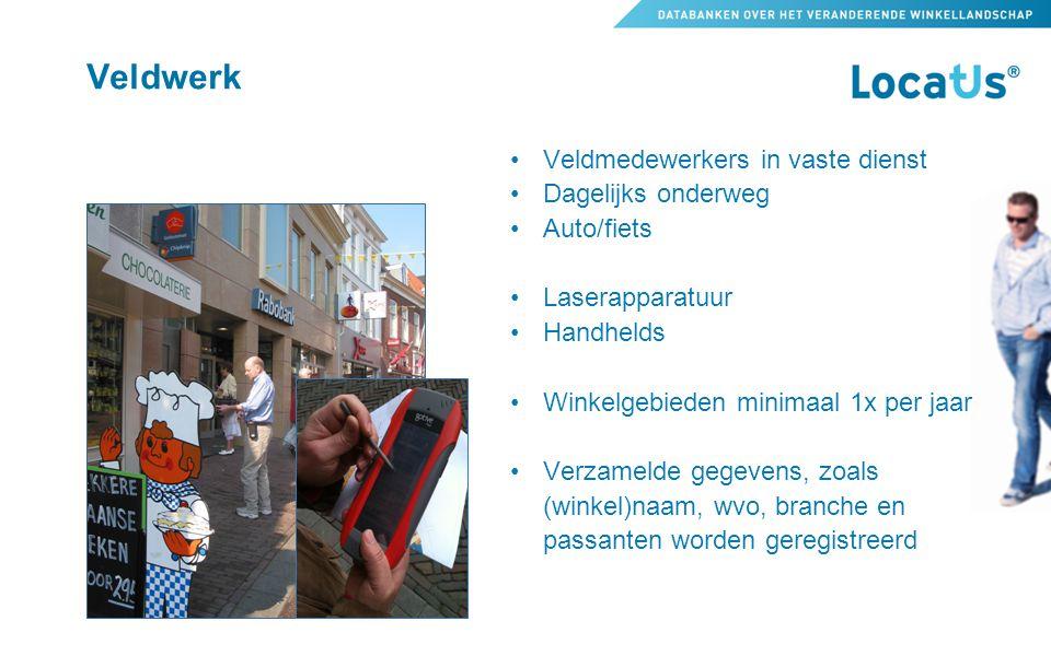 Veldwerk •Veldmedewerkers in vaste dienst •Dagelijks onderweg •Auto/fiets •Laserapparatuur •Handhelds •Winkelgebieden minimaal 1x per jaar •Verzamelde