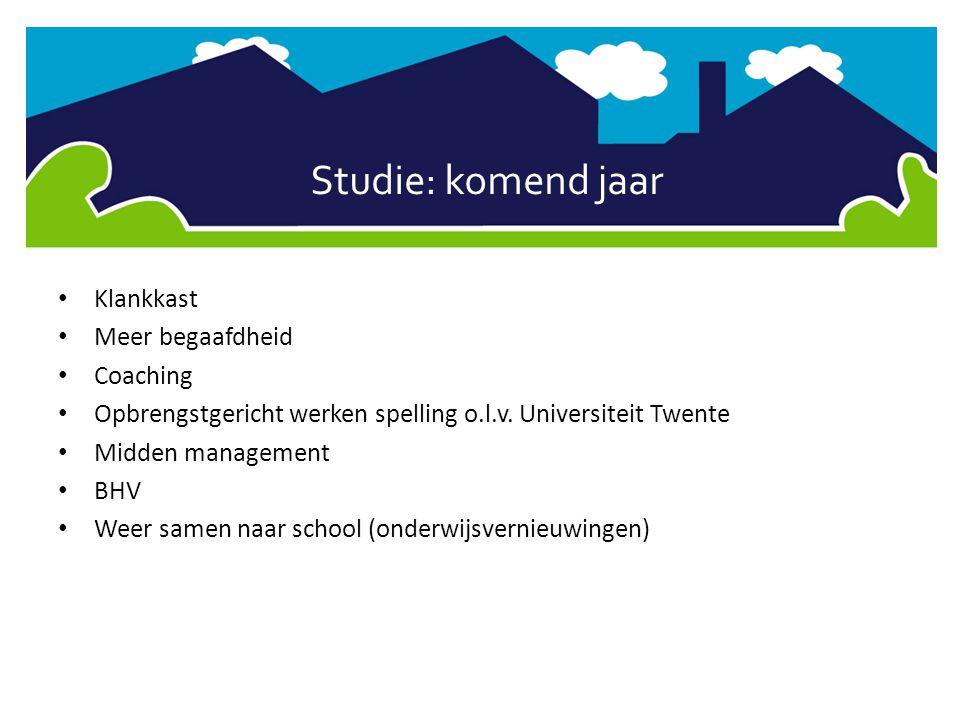 Studie: komend jaar • Klankkast • Meer begaafdheid • Coaching • Opbrengstgericht werken spelling o.l.v. Universiteit Twente • Midden management • BHV