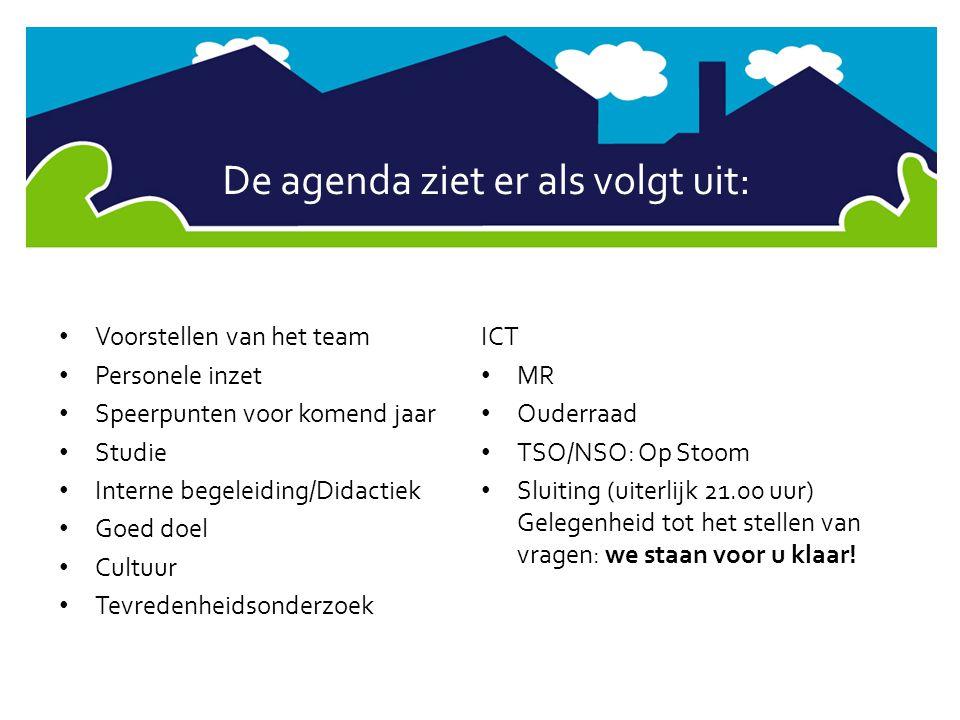 De agenda ziet er als volgt uit: • Voorstellen van het team • Personele inzet • Speerpunten voor komend jaar • Studie • Interne begeleiding/Didactiek