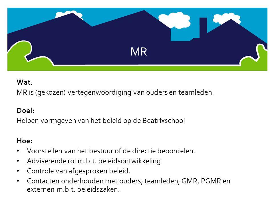 MR Wat: MR is (gekozen) vertegenwoordiging van ouders en teamleden. Doel: Helpen vormgeven van het beleid op de Beatrixschool Hoe: • Voorstellen van h