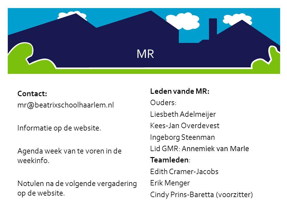 MR Contact: mr@beatrixschoolhaarlem.nl Informatie op de website. Agenda week van te voren in de weekinfo. Notulen na de volgende vergadering op de web