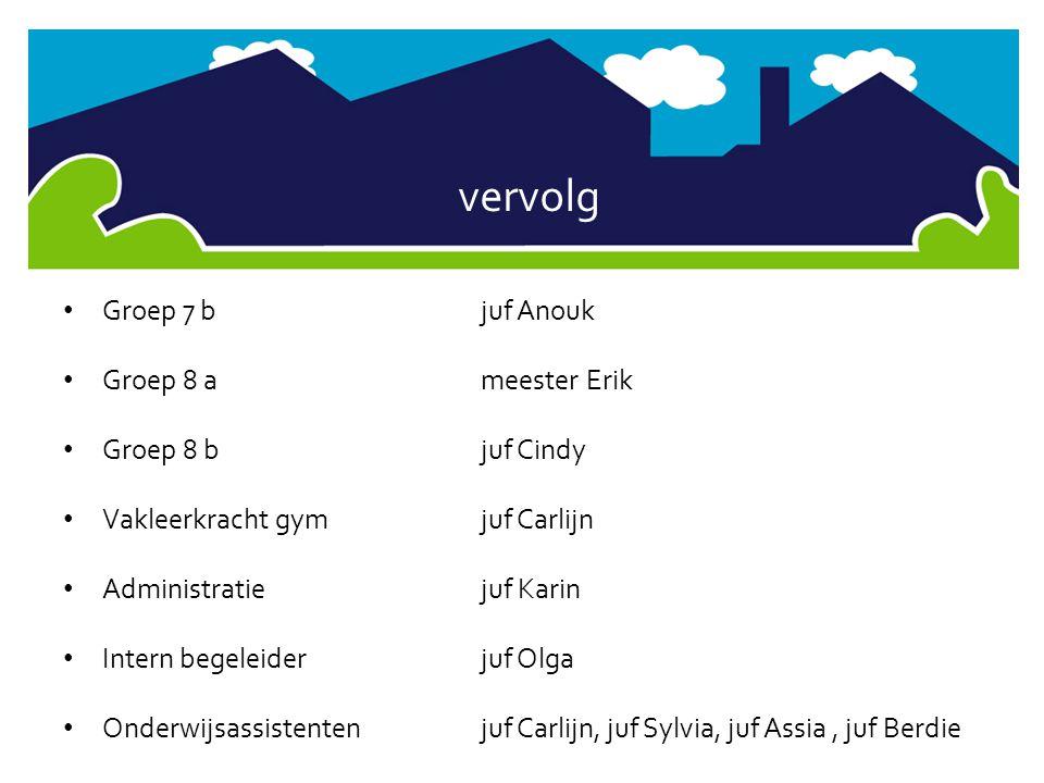vervolg • Groep 7 bjuf Anouk • Groep 8 ameester Erik • Groep 8 b juf Cindy • Vakleerkracht gymjuf Carlijn • Administratiejuf Karin • Intern begeleider