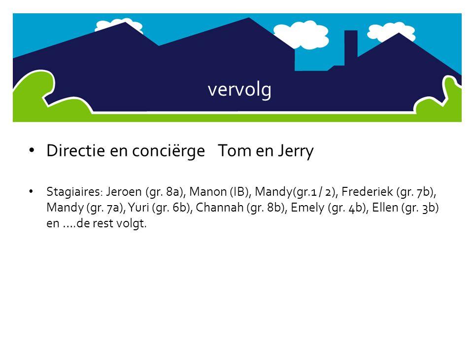 vervolg • Directie en conciërgeTom en Jerry • Stagiaires: Jeroen (gr. 8a), Manon (IB), Mandy(gr.1 / 2), Frederiek (gr. 7b), Mandy (gr. 7a), Yuri (gr.