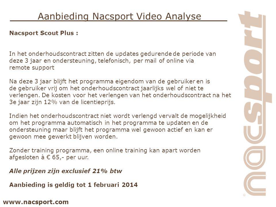 www.nacsport.com Aanbieding Nacsport Video Analyse Nacsport Scout Plus : In het onderhoudscontract zitten de updates gedurende de periode van deze 3 j