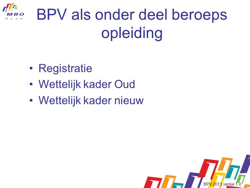 BPV als onder deel beroeps opleiding •Registratie •Wettelijk kader Oud •Wettelijk kader nieuw BPV 2013 versie 1.0